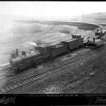 View of a work train just west of the St. Mary's River wooden trestle – April 1898.  Courtesy of the Royal BC Archives Collections #B-06987