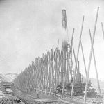 View of a wooden trestle being built along the Crowsnest Branch – 1897.  Courtesy of the Royal BC Archives Collections #B-06294
